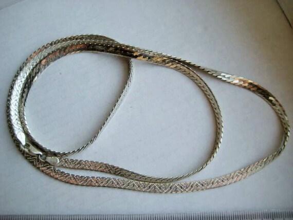 vintage 925 silver milor italy flat link necklace 24 inch