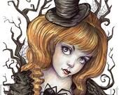 """Gothic Art- Mistress of Darkness - Black Widow 8.5"""" x 11"""" Art Print"""
