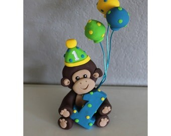 Custom Monkey with Balloons Cake Topper for Birthday or Baby Shower