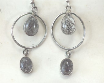 Tourmalated Quartz and Sterling Silver Hoop Earrings