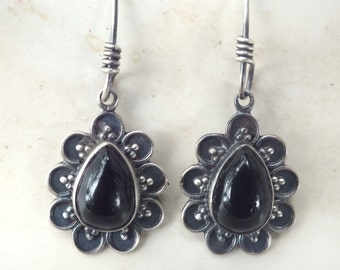 Onyx Flowers and Sterling Silver Dangle Earrings