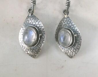 Moonstone and Sterling Silver Patterned Diamond Shape Drop Earrings