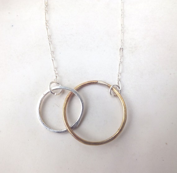 Brass and Sterling Silver Loop Necklace---Intertwined Hoops