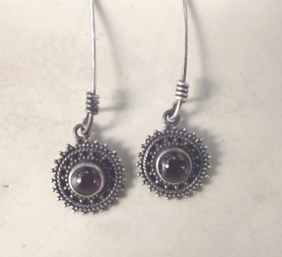 Garnet and Sterling Silver Drop Earrings---Ethnic Design