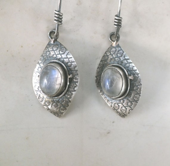 Moonstone and Sterling Silver Patterned Diamond Shape Drop Earrings