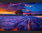 Lavender Field in Provence -Original Oil Painting on Canvas 26 x 20 Landscape Painting Original Art Impressionistic Oil by Ivailo Nikolov