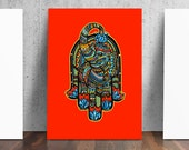 Elephant Hamsa Lotus Print from Original Pen and Ink by Catherine Dolch