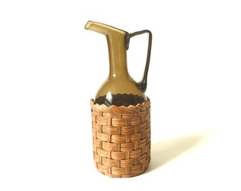 Vintage Art Glass Bottle, Basket Covered, Woven, Wicker Wine Pitcher, Brown Art Glass Ewer, Bohemian Pitcher, Boho Handled Vase, Mid Century