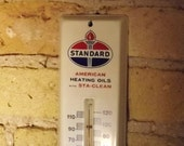 Standard Oil Thermometer, Advertising Wall Hung Gas and Oil Temperture Guage, Vintage Americana, American Heating and Oil Co. 1962 Sta-Clean