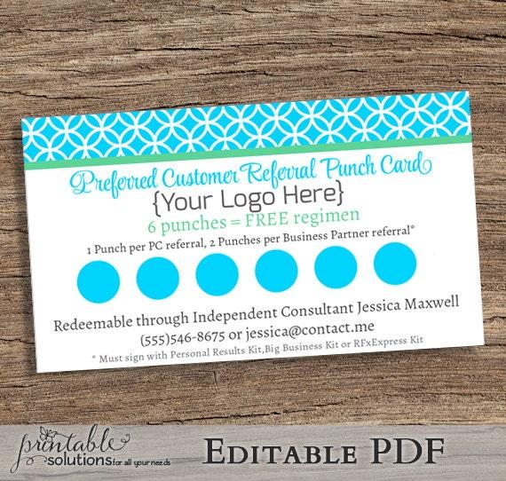 EDITABLE Preferred Customer Referral Punch Card Printable