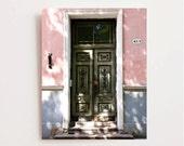 Door Photography - Tallinn Estonia Photography - Travel Photography - Green Pink White Decor - Architecture Print - Door Photograph - Photo