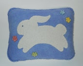 Bunny Rabbit Pillow -Novelty Bunny Pillow - Nursery Throw Pillow - Rabbit Appliqued Pillow - Blue Wool Pillow