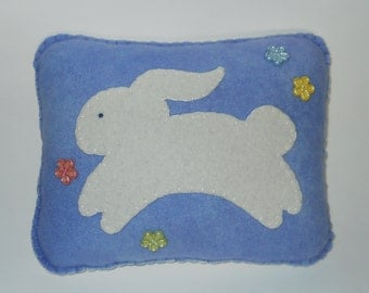 Bunny Pillow - Prim Folk Art Pillow - Nursery Throw Pillow - Rabbit Appliqued Pillow - Blue Wool Pillow