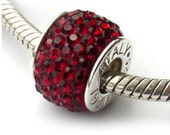 Swarovski Crystal Dark Red Charm Beads Sterling Silver