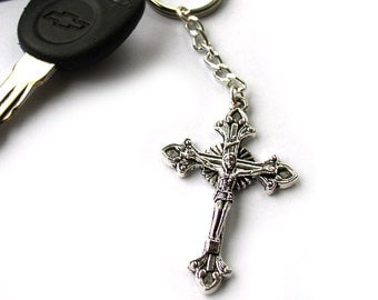 Religious Keychain Silver Crucifix