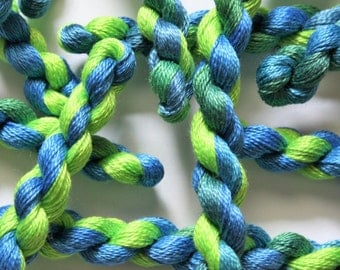 Hand Embroidery Thread - Fine Perle 12 Cotton Sewing Yarn for Needlecrafts - Variegated Hand Dyed Blue and Green - Shade 338