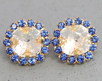 Sapphire Stud earrings Blue White Swarovski Swarovski Earrings Nautical Blue Earrings Something Blue Bridal Earrings Capri Blue Earrings