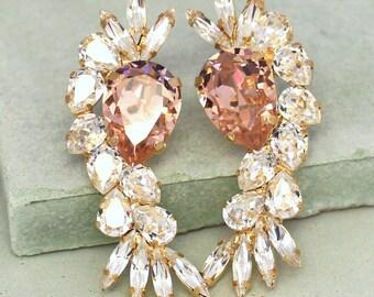 Bridal Crystal Earrings,Blush Pink Chandelier Earrings,Swarovski Crystal Blush Earrings,Bridal Pink Earrings,Swarovski Statement Earrings