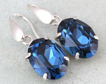 Blue Navy Earrings,Navy Blue Silver Earrings,Dark Blue Swarovski Earrings, Silver Sterling Bridal Navy Earrings,Bridesmaids Blue Earrings