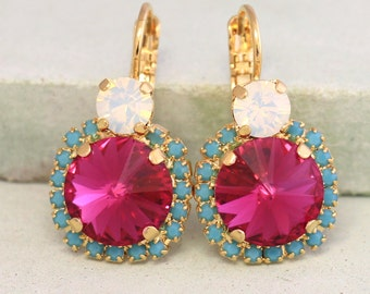 Pink Turquoise Drop Earrings,Fuchsia Pink Turquoise Dangle Earrings,Pink Swarovski Earrings,Crystal Swarovski Earrings,Bridesmaids Jewelry