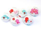 Pushpins Love Birds  / Fabric Covered Button -  Pushpin - Shank - Thumb Tack - Craft Button - Magnet - Love Notes - Heart