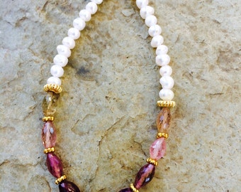 Pink Tourmaline and Freshwater Pearl Bracelet; Multi Tourmaline; Creamy Pearl; Gold Vermeil; Shaded Tourmaline; Statement Piece