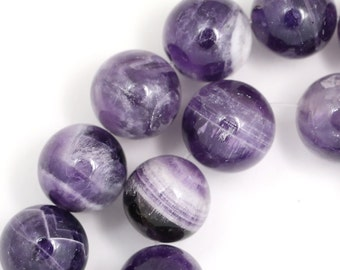 Banded Amethyst Beads - 14mm Round