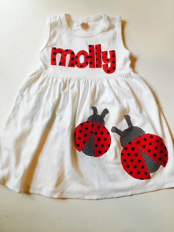 Lady Bug Dress - Personalized Dress with LadyBug Applique- You Choose Dress Color and Sleeve Length