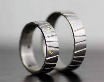 alternative modern wedding band set - palladium diamond wedding band - engagement ring set - unique handmade wedding bands - eco-friendly
