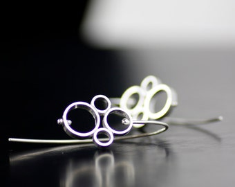 pinned bubbles unique threader dangle earrings - modern, sterling silver sculptural art jewelry - handmade in seattle by lolide