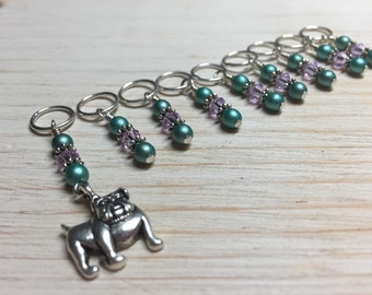 Bulldog Beaded Stitch Markers- Snag Free Knitting Markers- Dog Gifts for Knitters- Crochet Markers- Tools