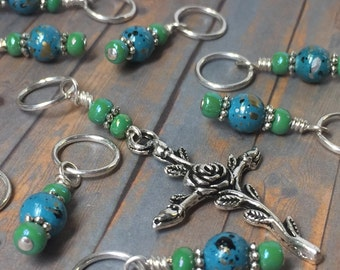 Cross Stitch Marker Set- SNAG FREE Blue Beaded Flower Knitting Markers- Tools- Handmade Gifts for Knitters