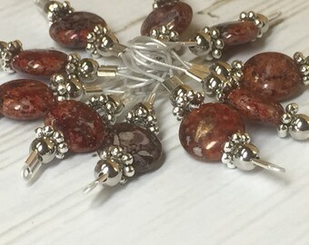 Soft Wire Loop Stitch Markers, Brick Red Markers, Gift for Knitters