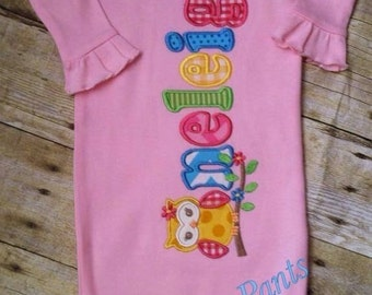 Owl Baby Infant Personalized Name Gown Layette Hospital