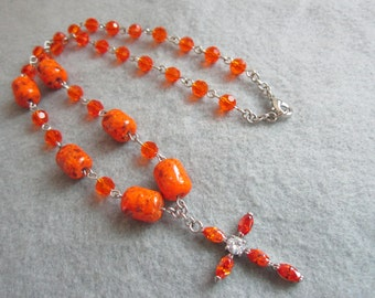 Sun Rising, Lampwork Glass Bead Necklace