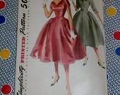"1950s Vintage Simplicity Pattern 4893 Misses Party Dress with Detachable Collar Size 14, Bust 32"", Hip 35"", Waist 26"", Uncut, Factory Folds"