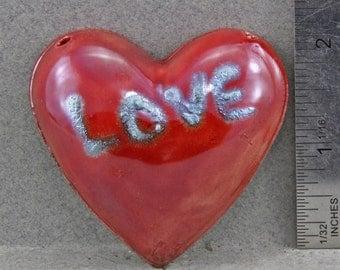 Handmade Raku  Heart Pendant Bead Puffy  Hollow  Heart Pendant Love