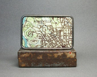 Belt Buckle Asheville North Carolina Vintage Map Unique Gift for Men or Women