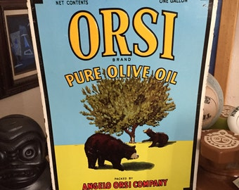 Orsi Pure Olive Oil Roseville CA Vintage Tin Advertising Sign
