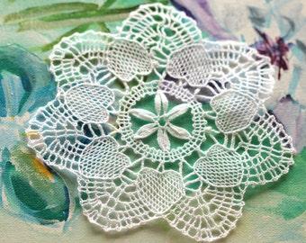 lace  applique handmade flower lace vintage  white lace applique