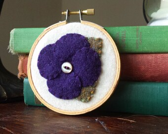 Purple Flower Applique in Embroidery Hoop