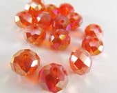 15 Orange and Pink AB Large Chinese Crystal 8mm x 10mm Faceted Rondelle Jewelry beads