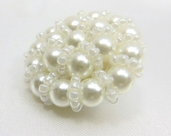 Pearl and White Seed Bead Large 30mm Buttons