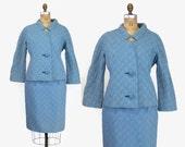 60s LILLI ANN Sky Blue SUIT / 1960s Textured Wool Blazer Jacket & Skirt M - L