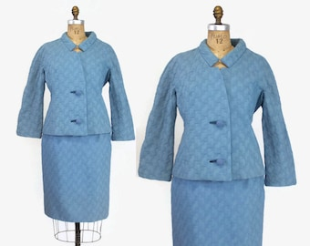 60s LILLI ANN Sky Blue SUIT / 1960s Textured Wool Blazer Jacket & Skirt M - L