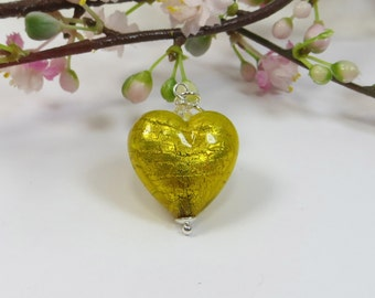 Venetian Murano Glass Heart Pendant, Golden Ginger Murano Glass Heart w 24kt Goldfoil Inside, Swarovski Crystal and 925 Sterling Silver