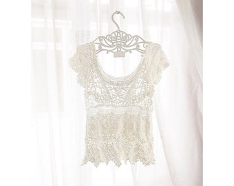 Lace Vest Boho Chic Marie Antoinette Cream Great Gatsby Elven Fae French Romantic Top Crochet Ethereal Coachella Boudoir Sheer Tunic Coverup