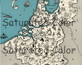 Holland Belgium Netherlands Map ORIGINAL 1932 Vintage Picture Map Geography - Pictorial Fun Charming Antique Paul Spener Johst Whimsical