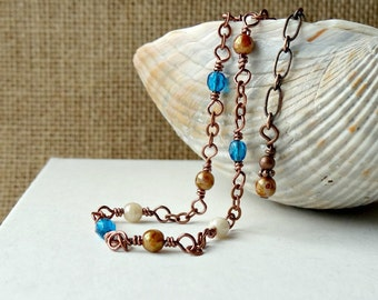 Beaded Anklet, Simple Blue and Copper Ankle Chain, Dainty Foot Jewelry, Summer Ankle Bracelet