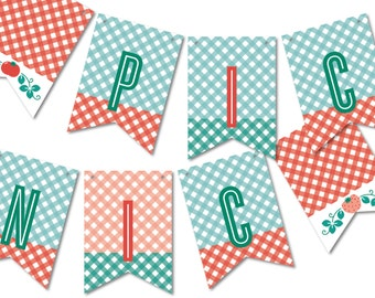 Bunting Banner Flags, Birthday Party Garland, Picnic Bunting, Party Décor // FARMER'S MARKET